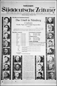 2012_10_01_Memorium Nuremberg Trials - Anniversary of the Verdicts_Süddeutsche Zeitung 1 October 1946